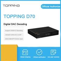 Topping D70 dac decoder Bluetooth XMOS XU208 AK4497 chip coaxial usb optical IIS input Balance xlr RCA output DSD512 amplifier