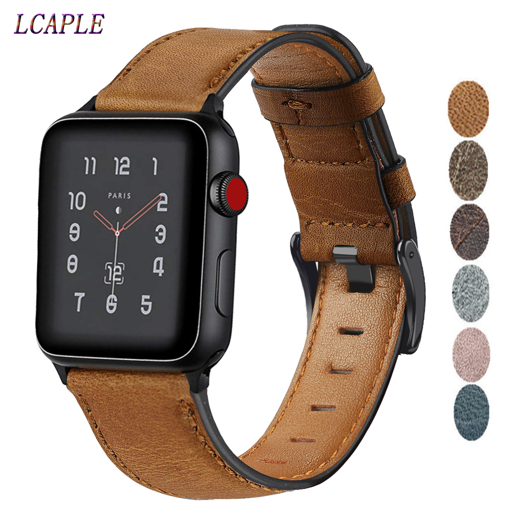 Retro Cow Leather Strap For Apple Watch 5 Band 44 Mm 40mm IWatch Band 42mm 38mm Pulseira Apple Watch 4 3 2 Watchband Bracelet 44