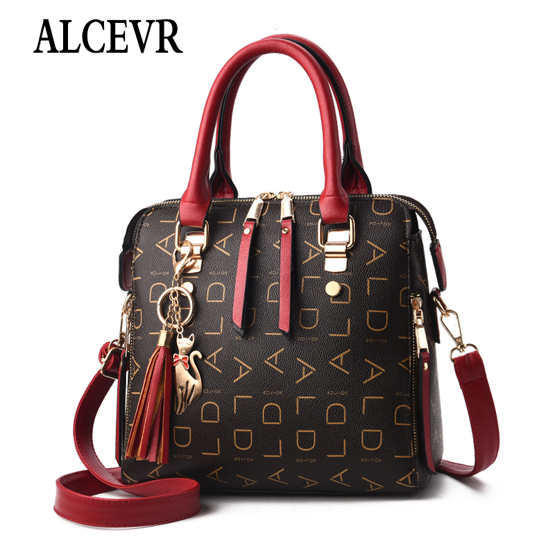 ALCEVR Letter PU Leather Women Shoulder Messenger Bag Ladies Large Shopping Crossbody Bags Tote Fur Ball Cute Cat Flap Handbags