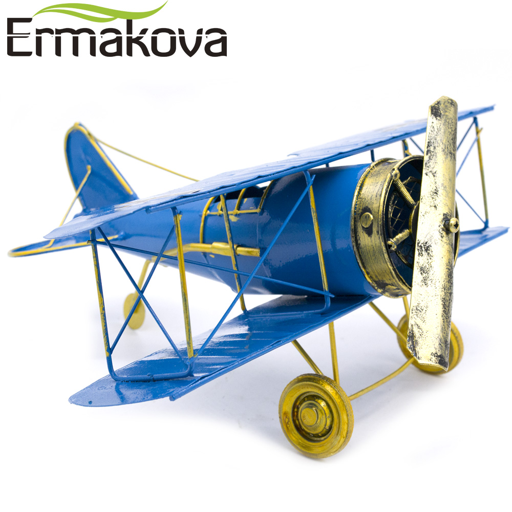 ERMAKOVA Metal Handmade Crafts Aircraft Model Airplane Model Biplane Home Decor Ornaments Furnishing Articles(B Color) image