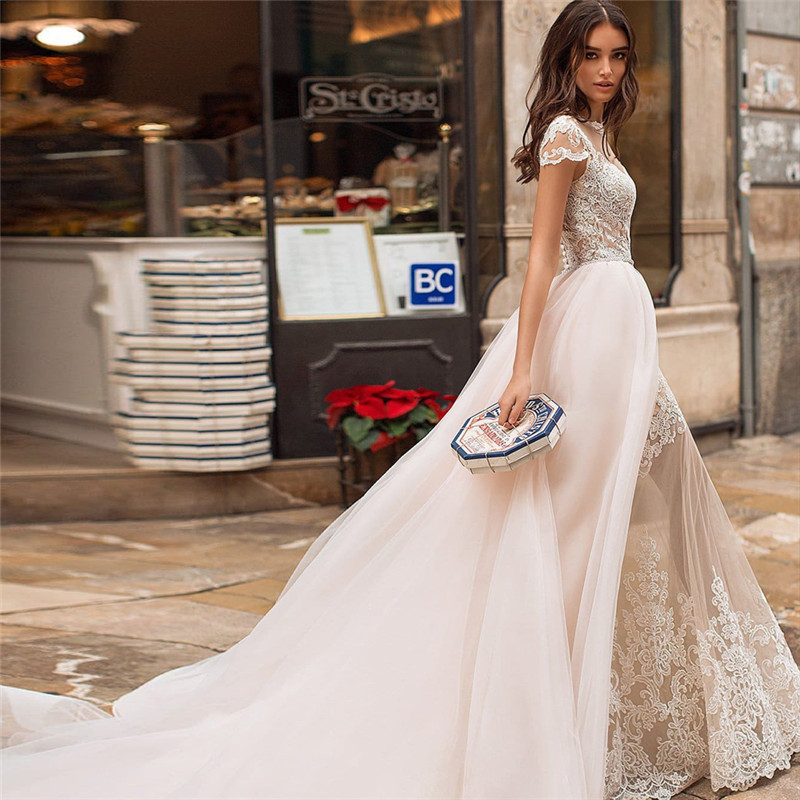 Mermaid Wedding Dresses Jewel Cap Sleeves Champagne Bridal Gown With Removable Skirt Lace Bride Dress 2020
