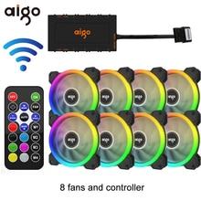 Aigo DR12 120 мм кулер вентилятор двойной Aura RGB PC Вентилятор охлаждения для компьютера бесшумный игровой чехол с ИК-пультом дистанционного управления am3 am4