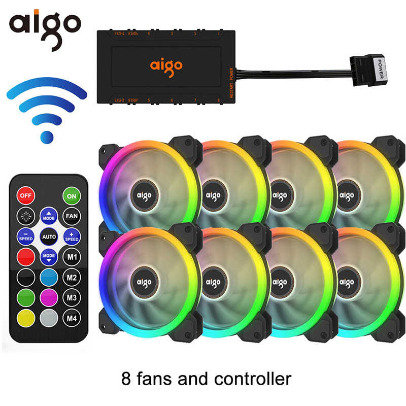 Aigo DR12 120 Mm Koeler Fan Dubbele Aura Rgb Pc Fan Koelventilator Voor Computer Stille Gaming Case Met Ir afstandsbediening Am3 Am4