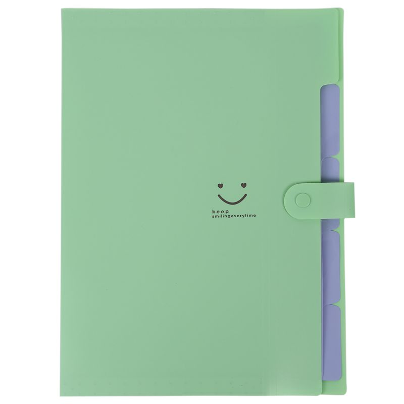Plastic Expanding File Folders Accordion Document Organizer 5-Pocket A4 Letter Size For School And Office Green