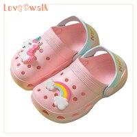 בנות נעלי כפכפים ילדים נעלי בית 2019 חדש Unicorn נעלי תינוק ילד חוף סנדלי רך EVA פעוט בנות סנדלי כפכפים ילדים-בכפכפים מתוך אמהות וילדים באתר
