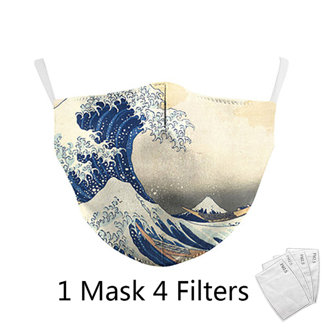 4Pcs Filter Classic Van Gogh Oil Draw Print fashion Face Masks  Adult mask Reusable Washable Fabric Mouth Mask PM 2.5 Dust Masks