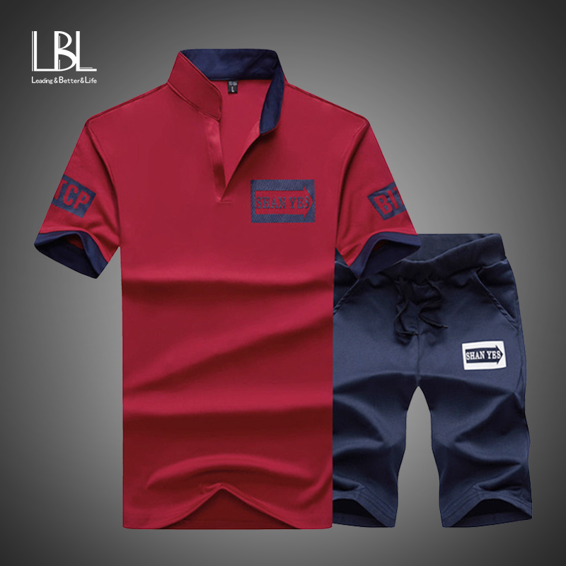 Sportsuits Set Men 2020 Brand Fitness Suits Summer 2PC Top Short Set Mens Stand Collar Fashion 2 Pieces T-shirt Shorts Tracksuit 1