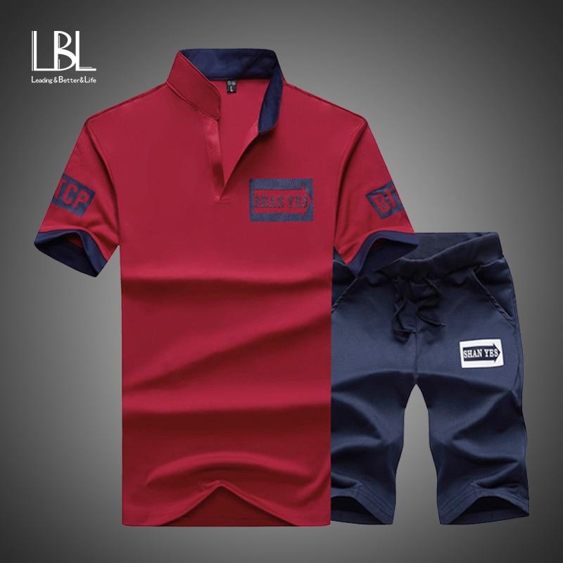 Sportsuits Set Men 2020 Brand Fitness Suits Summer 2PC Top Short Set Mens Stand Collar Fashion 2 Pieces T-shirt Shorts Tracksuit