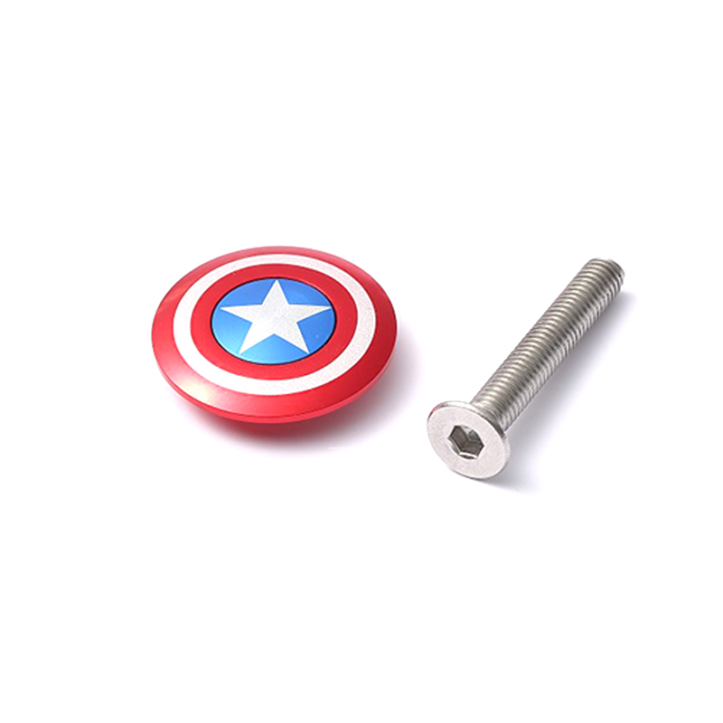 Bicycle Stem Top Cap Headset Cover With Bolt Captain America Spider Logo USA Flag Apply To 28.6mm 1 1/8