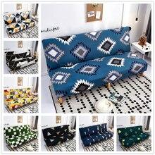 Impressão geométrica moderna dobrável sofá cama capa sem braço universal estiramento sofá capa mobiliário slipcover sofá protetor