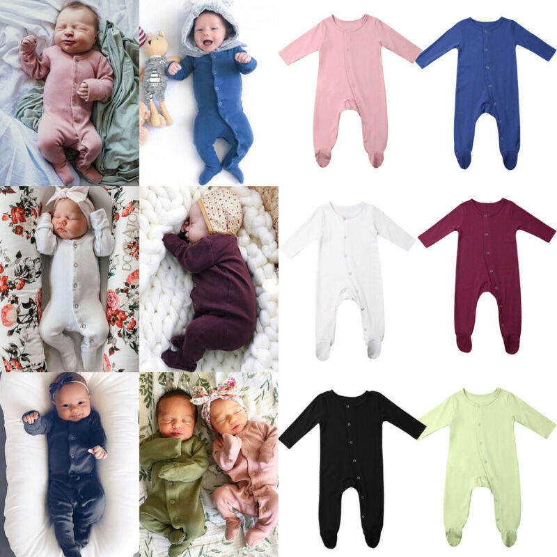 0-24M Newborn Kid Baby Girl Boy Clothes Long Sleeve Solid Romper Casual Plain Jumpsuit Cute Sweet Soft New Bron Outfits