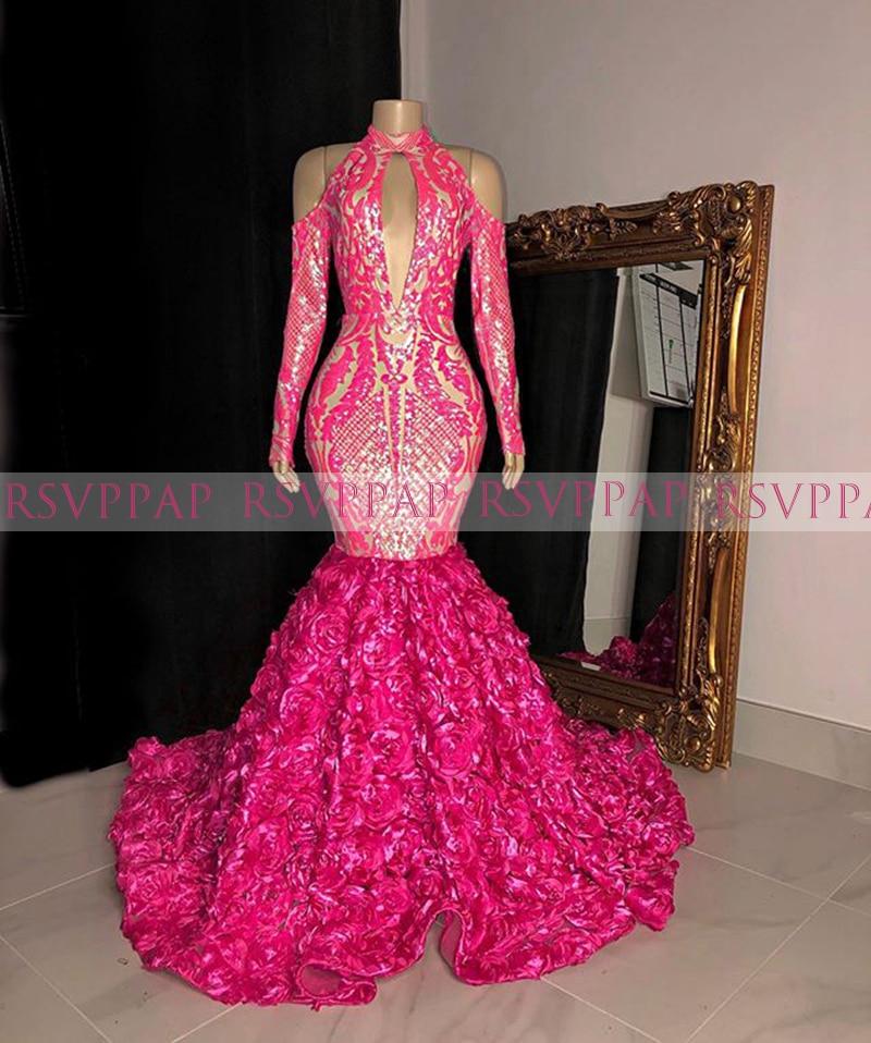Long Prom Dresses 2020 Elegant High Neck Long Sleeve Hot Pink African Black Girl Mermaid Women 3D Rose Prom Dress