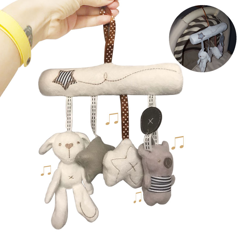 Baby Rattles Toys For Newborn Baby Plush Soft Baby Toys 0-12 Months Animal Musical Rattle Stroller Bed Cart Toys For Kids