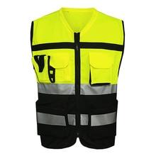 Жилет безопасности светоотражающий видимость карманы строительство дорожного движения Велоспорт одежда