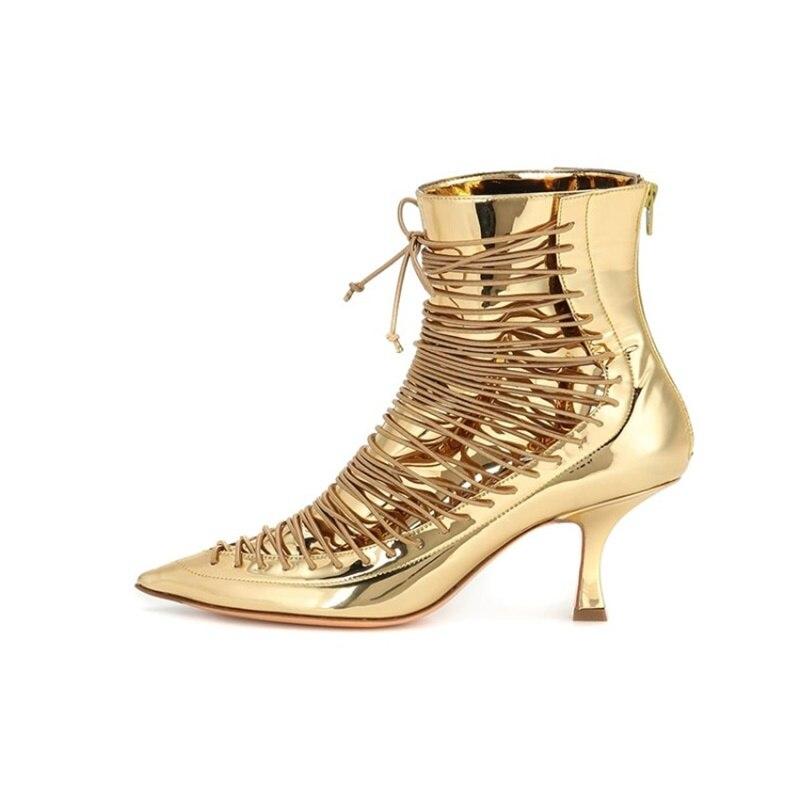 Miroir brillant bottillons à la cheville bout pointu à lacets moyen chat talons bottes automne hiver femme chaussures élégantes piste fête Halloween