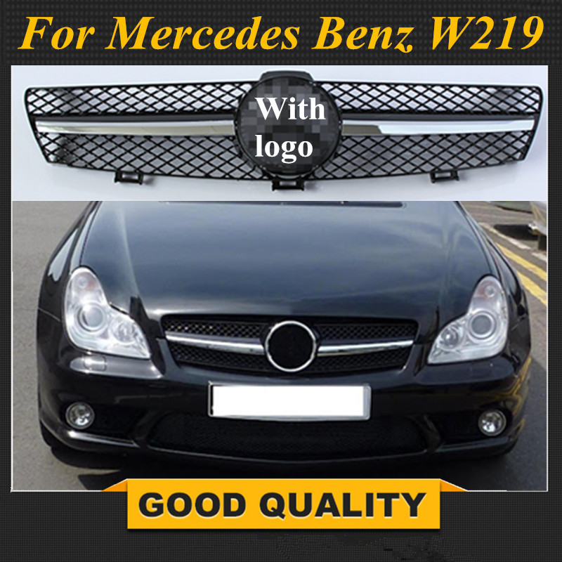 Sliver/Black Car Racing Grille For Mercedes Benz <font><b>W219</b></font> <font><b>Grill</b></font> CLS500 SLS600 Emblems Chrome Mesh Radiator Front Bumper Lower Modify image