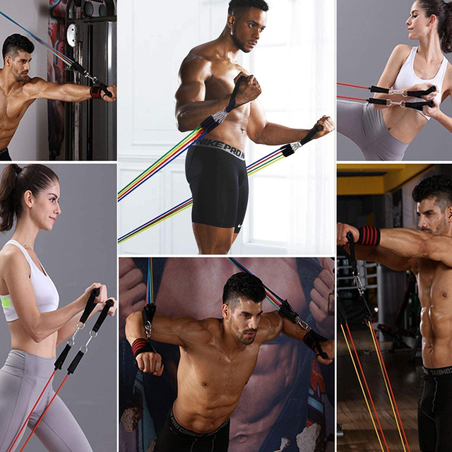 Exercise Resistance Bands Set Up to 115 lbs Fitness Stretch Workout Bands with 5 Fitness Tubes Home Gym Yoga Equipment Men Women 6