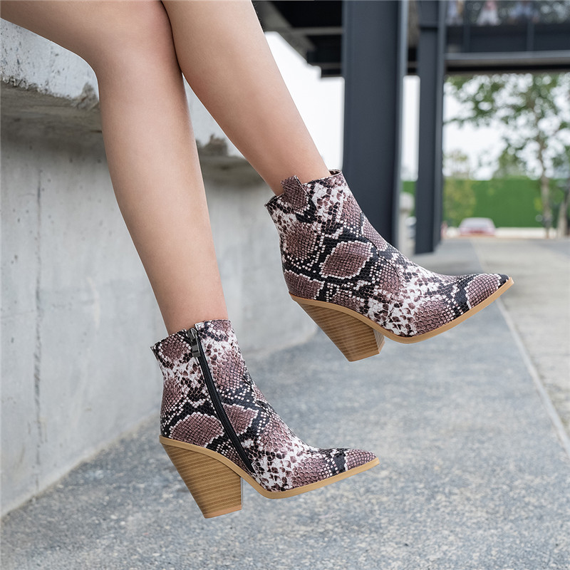 Image 5 - FEDONAS Winter Female Plus Size Chunky Heels Party Night Club Shoes Woman Brand Women Leather Ankle Boots Classic Western Boots-in Ankle Boots from Shoes