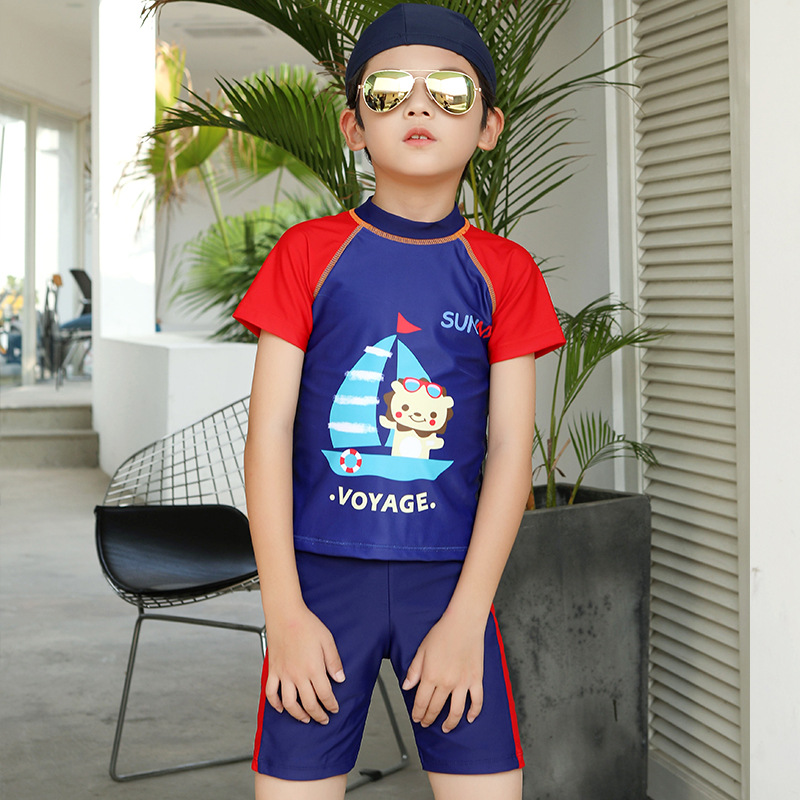 New Style KID'S Swimwear Boy One-piece BOY'S Girls Big Boy GIRL'S Baby Long Sleeve Trousers Hot Springs Tour Bathing Suit