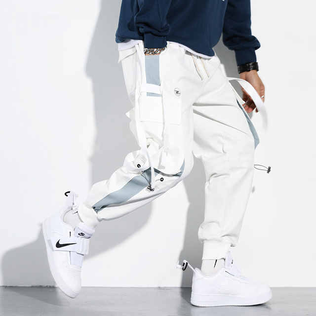 Men Cargo Harem Jogger Pants Men Hip Hop Fashion Casual Track Trousers Streetwear Harajuku Hipster Ribbon Pockets Sweatpants Men 5