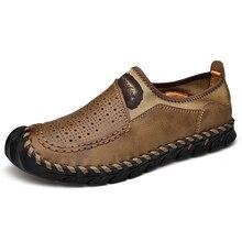 Мужская повседневная обувь из натуральной кожи, дышащие слипоны, мужские лоферы, Мокасины, комфортное вождение мужской обуви, кожаная обувь размера плюс 38 48