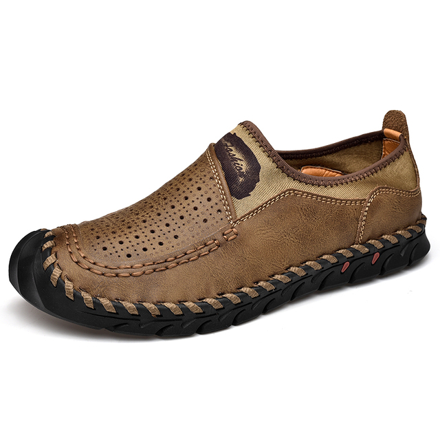 Homens de couro genuíno sapatos casuais respirável deslizamento em mocassins masculinos confortável condução sapatos de couro plus size 38 48