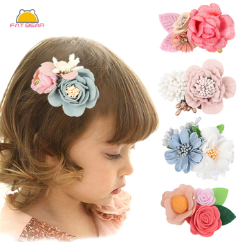 Baby Girl Chiffon Floral Hair Clips for Kids Elegant Lace Flowers Hairpins Clip Barrettes Accessories Photography props