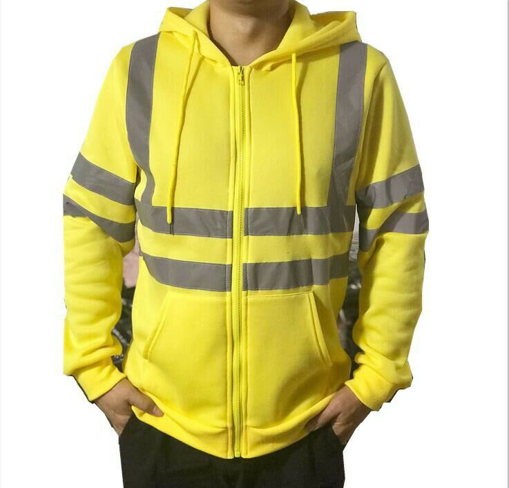 Men Hooded Jacket Jumper Sweatshirts Winter Autumn Zipper Fleece Hoodie Coat Reflective Fluorescent Stripe Safety Work Clothes