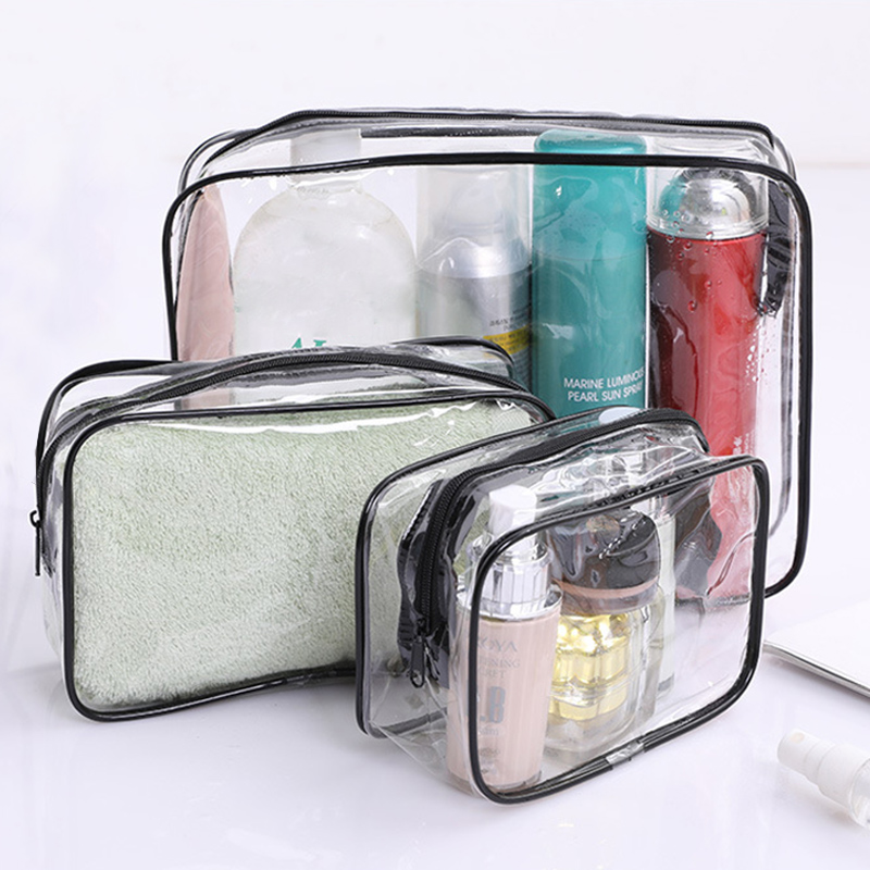 Rantion 3pcs/<font><b>set</b></font> Clear Travel Storage <font><b>Bag</b></font> PVC <font><b>Cosmetic</b></font> Makeup Organizer <font><b>Transparent</b></font> Waterproof Toiletry <font><b>Bags</b></font> for Women Ladies image