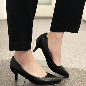 Rimocy Classic Pointed Toe 5 Cm Stiletto Heel Pumps Women Black Pu Leather Ladies Office Shoes Comfy Shallow Single Shoes Woman