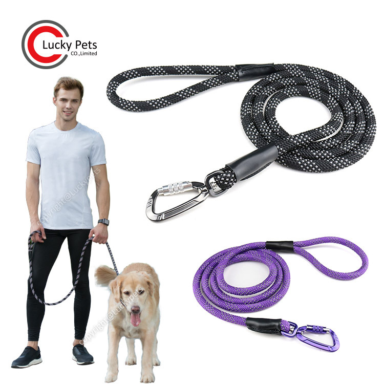 Pet Supplies Durable Multi-color Reflective Weaving Round Rope Hand Holding Rope Climbing Rope Dog Traction Belt