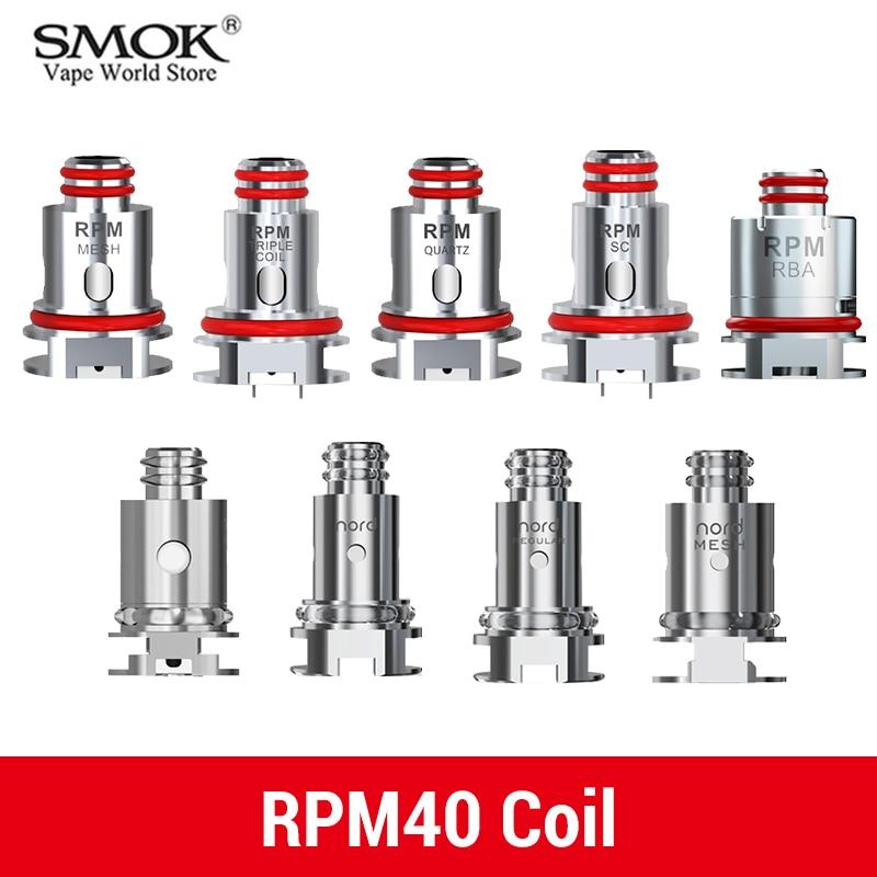 Original Vape SMOK RPM40 RBA Coil Vaporizer RPM 40 Nord Pod Mesh 0.6ohm Triple 1.2ohm DIY  Core Eletronic Cigarette S5168