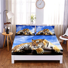 Mattress-Cover Pillowcases Bed-Sheet Print with Elastic-Band Four-Corners Ferocious Tiger