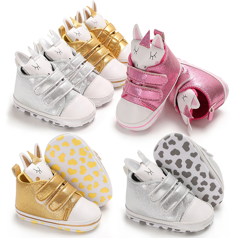 Newborn Infant Baby Girls Shoes PU Bling Unicorn Head Toddler Soft Cotton Anti-Slip Sole Shining Sneaker Girl Party Crib Shoes