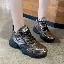 2019 Autumn New Chunky Sneakers Patent Leather Crystal Ankle Dad Shoes Fashion Thich Sole Platform