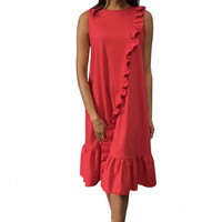 Women Summer Ruffled Casual Comfortable Dress O Neck Tank Solid Red Holiday Madi Dress A Line Fashion Dress L