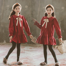 Girls Fall Dress Korean Long Sleeve Princess Teen Dress 2019 Red Cotton Fashon School Clothing 4 5 6 7 8 9 10 11 12 13 14 Year цена