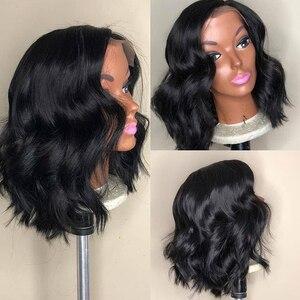 Image 4 - Falista peruka z krótkim bobem dla kobiet wstępnie oskubane koronki przodu peruki z ludzkich włosów peruwiańskie włosy Remy 150% naturalną linią włosów T częściowo koronka peruka