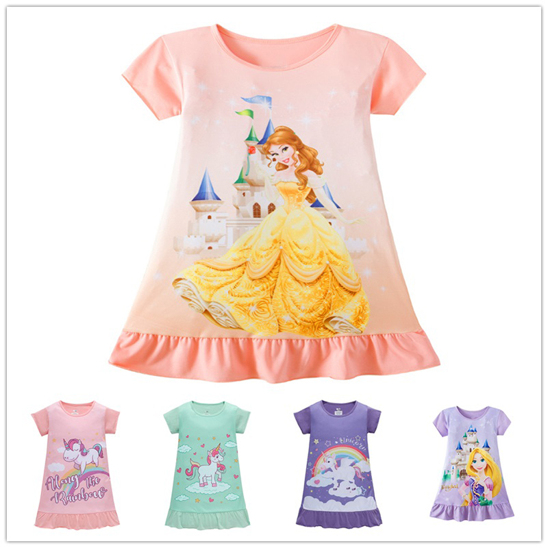 Five Styles High Quality Unicorn Belle Princess Dress for Girls Gifts