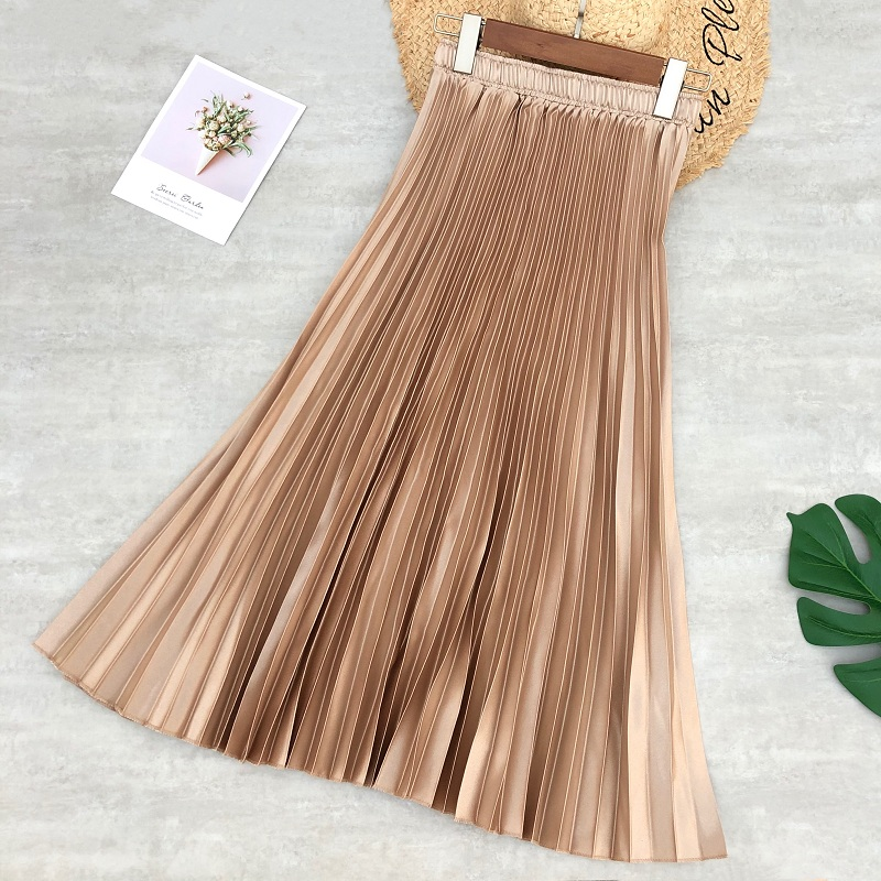 Spring Women Midi Skirts Metallic Color Shiny Pleated Skirt Solid Color Silver Gold Long Skirt Satin Femme Jupe Office Lady