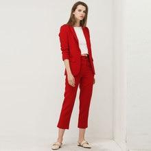 Bella Philosohy Spring Fashion Red Blazer Suit Women OL Puff Sleeve Workwear Blazer Coat No Button Three Quarter Ladies Outwears