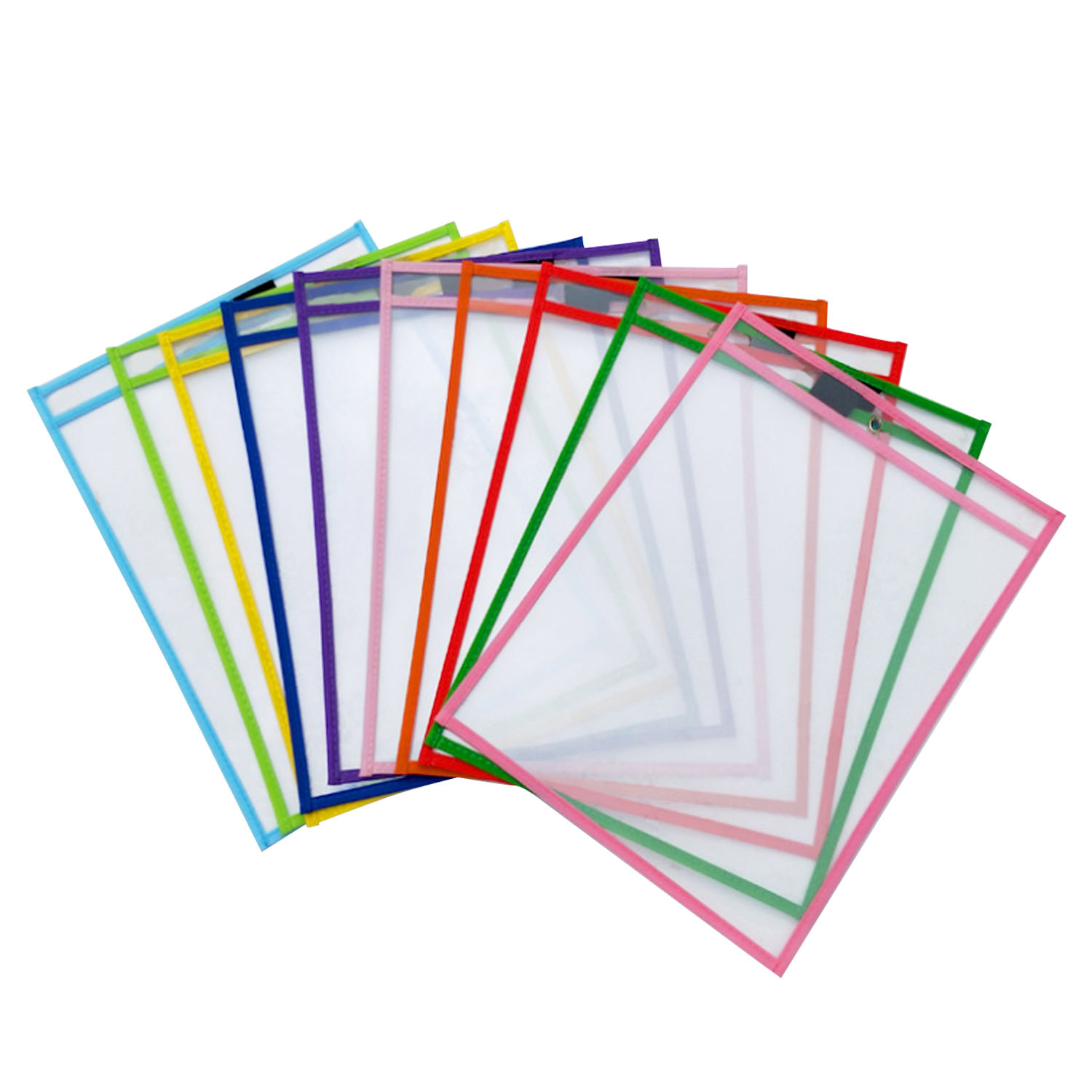 10PCS Reusable PVC Dry Erase Pockets Sleeves Sheet Protectors With Pen Holder For Kids Children Students School Classroom