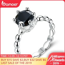 BAMOER Silver Color Finger Ring with Black Cubic Zirconia For Women Fashion Wedding Jewelry PA7221(China)