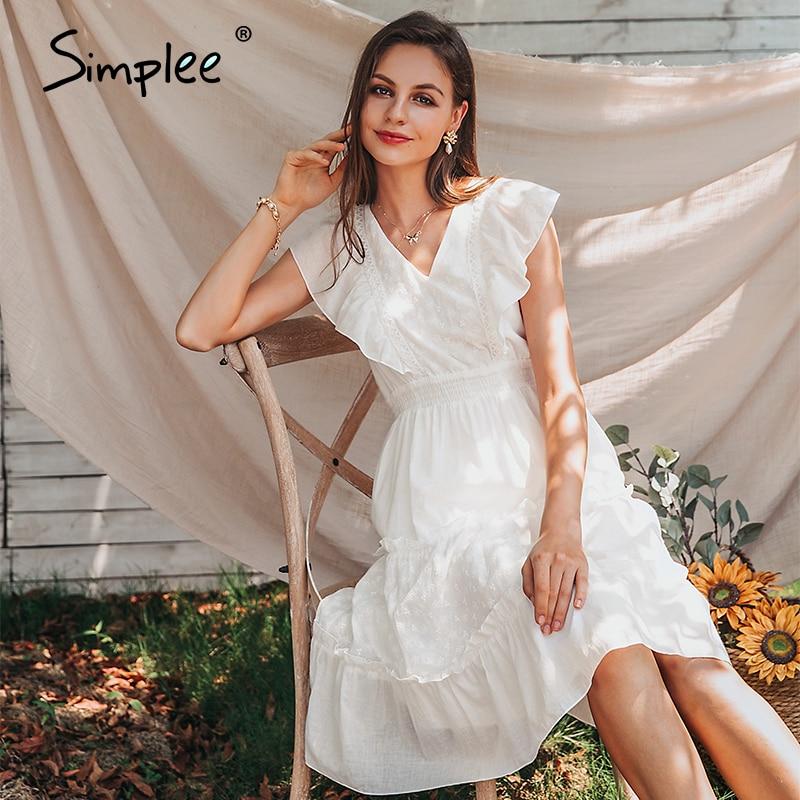 Simplee Elegant v-neck ruffle sleeve women dress Summer white A-line midi female office sundress Daily wear ladies midi dresses
