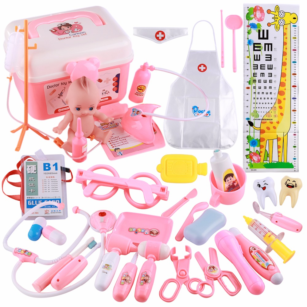 39Pcs Kids Toys Doctor Set Baby Suitcases Medical kit Cosplay Dentist Nurse Simulation Medicine Box with Doll Costume Xmas Gift