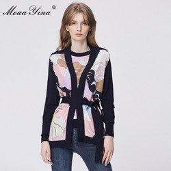 MoaaYina, Весенняя мода, длинный рукав, вязаные топы, женские, элегантные, с принтом, на шнуровке, кардиганы, шелк, пэчворк, свободные, шерсть, свит...