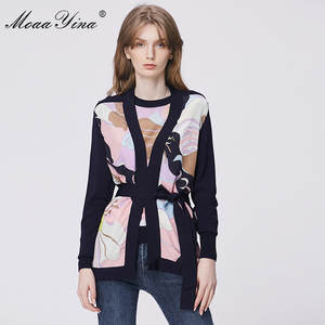 Moaayina Wool Sweater Coat Cardigans Tops Spring Lace-Up Patchwork Long-Sleeve Knitting