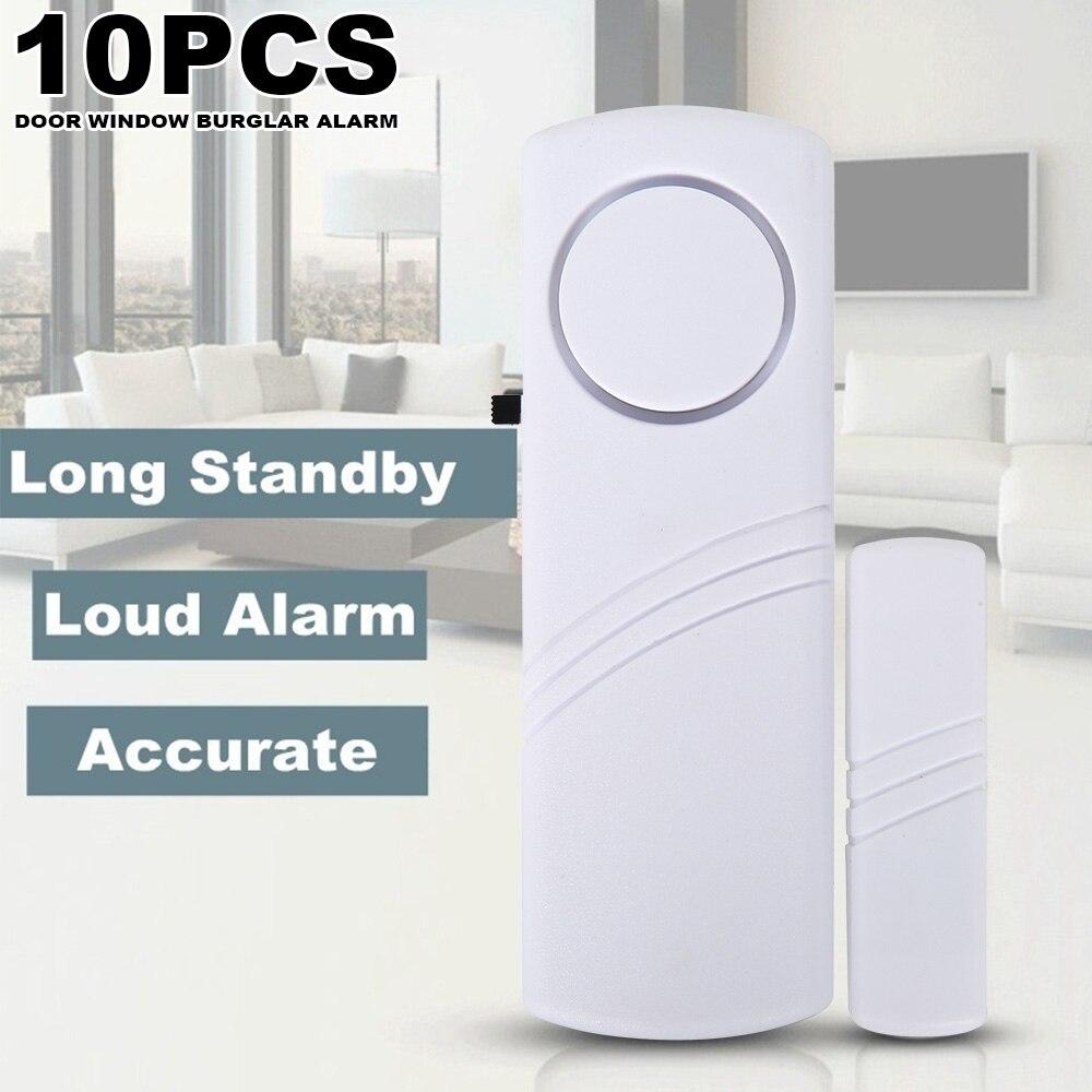10Pcs Door Window Burglar Alarm Standalone Magnetic Sensors Independent Wireless Home Entry Alarm Security Alarm Guardian