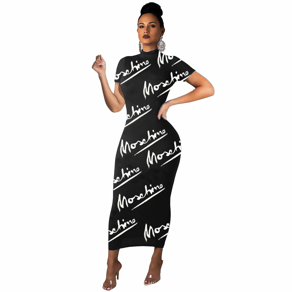 Fashion Letter Pritnted Black Pencil Dress Autumn O Neck Long Sleeve Maxi Long Robes High Street Lady Ankle Length Dress