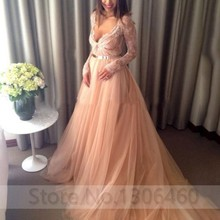 Blush Pink Plunging V Neck Long Sleeve Lace Tulle Empire Soft Evening Dress With Gloden Belt A Line Party Prom Party Gowns fashionable plunging neck short sleeve embroidered lace spliced dress for women